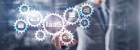IaaS Infrastructure as a Service. Blue Online Gear Internet and networking concept Фото со стока