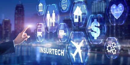 Insurtech. Health family life property insurance concept