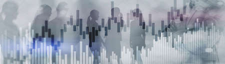 Candles and stock market charts on abstract background. Silhouettes and modern city