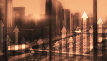 Double exposure Arrows Up Modern City Concept 2021
