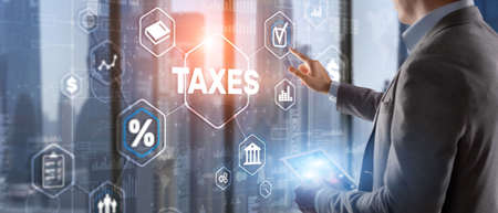 Concept of taxes. Tax payment. State taxes. Calculation tax return Фото со стока