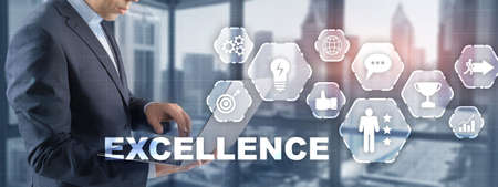 Achieve Business Excellence as concept. Technology Abstract Background