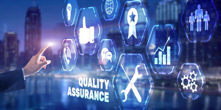 Man pressing touch screen interface quality assurance