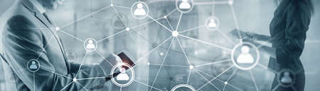 Human network map or people connection. Panoramic banner 2021