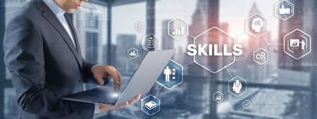 Skill Ability Business Internet technology Concept. Businessman in a jacket clicks on the inscription Skills