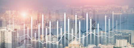 Financial growth chart graph diagram analysis big data trading investment concept. city view skyline website header banner double exposure 免版税图像