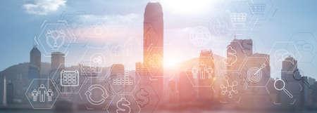 Modern City skyline Business finance success website header