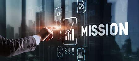 Businessman clicks on virtual screen Mission