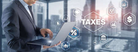 Concept of taxes. Tax payment. State taxes. Calculation tax return 免版税图像