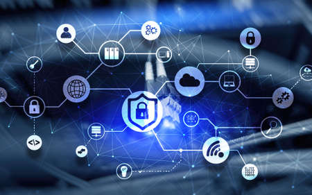 Data security concept. Icons: Closed Padlock, Wifi And cloud on digital background