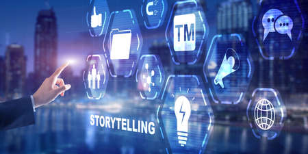 Storytelling. Story Telling Business Technology concept 2021 免版税图像