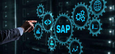 SAP System Software Automation concept. Businessman presses virtual button SAP