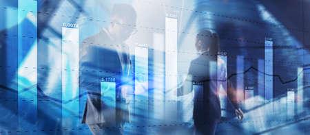 Finacial concept. Business Graph Stock Market chart. Digital charts and screen interface 免版税图像
