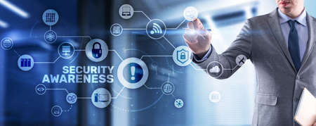 Inscription Security Awareness. Information Security Skills Management Service. Business, Technology, Internet and network concept