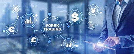 Inscription Forex Trading on Virtual Screen. Business Stock market concept 免版税图像