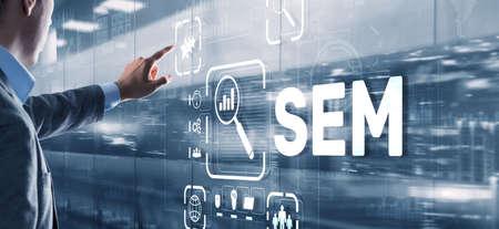 SEM Search Engine Optimization Marketing Ranking Traffic Website Technology Communication Concept