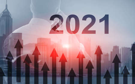 2021 Growth up arrows on futuristic abstract background. Investing o business concept