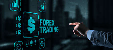 Inscription Forex Trading on Virtual Screen. Business Stock market concept Stockfoto