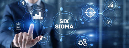 Six Sigma. Management concept aimed at improving the quality of work of an organization or a separate unit Stockfoto