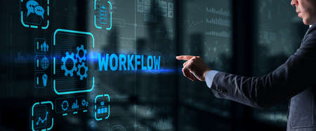 Workflow Repeatability Systematization Buisness Process. Business Technology Internet Stockfoto