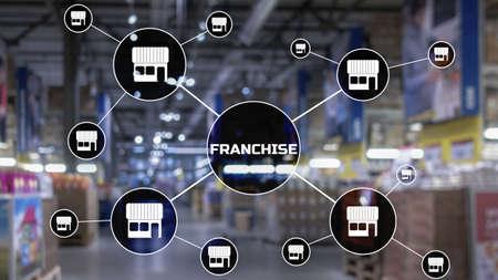 Franchise lettering on blurred warehouse background. Marketing system