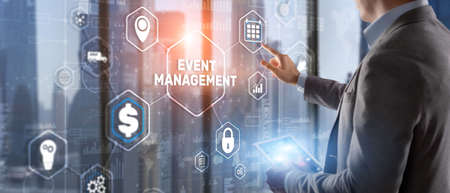 Businessman pressing on virtual screen and selecting Event Management