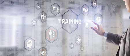 Training Webinar E-learning. Financial technology and communication concept