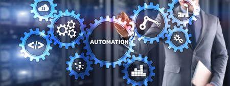 Automation Concept Innovation Improving Productivity. Mixed media