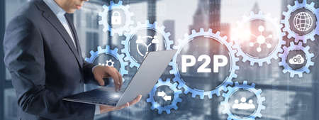 Peer to peer P2P. Magnifying. Financial data business currency concept
