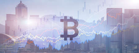 Bitcoin. Crypto currency market on modern city background