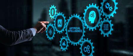 Artificial intelligence. Man clicks on 3d virtual screen Ai. Technology concept 版權商用圖片