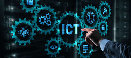 Information and communications technology concept 2021. Businessman is pressing on the virtual screen ict