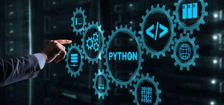 Python Programming Language. Programing workflow abstract algorithm concept on virtual screen