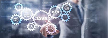 Businessman writing virtual screen: java Technology, internet, business and marketing