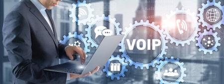 VoIP Voice over IP. Businessman pressing virtual screen Voice over Internet Protocol 版權商用圖片
