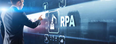 RPA Robotic Process Automation system. Big data and business concept