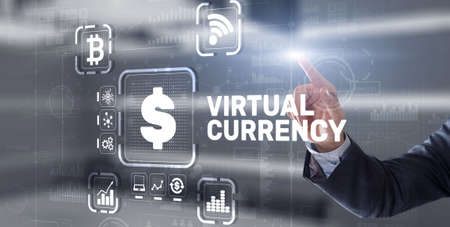 Virtual Currency Exchange Investment concept. Financial Technology Background