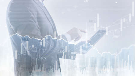 Abstract financial graph office building background, financial and trading concept