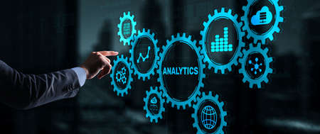 Analytics Data Analysis Strategy Statistic. Pressing your finger on the inscription Analytics 版權商用圖片