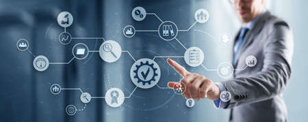 Icons Quality Assurance Standard Internet Technology Business Concept 版權商用圖片