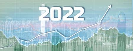 New 2022 year on modern city background. Website Banner