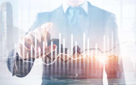 Histogram and lines economic chart instrument on modern metropolis 版權商用圖片