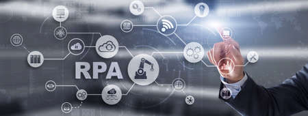 RPA. Robotic process automation concept on virtual screen