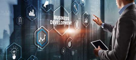 Business Development Planning. Inscription on 3D the virtual screen
