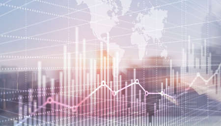Abstract stock market bar graph on world map background