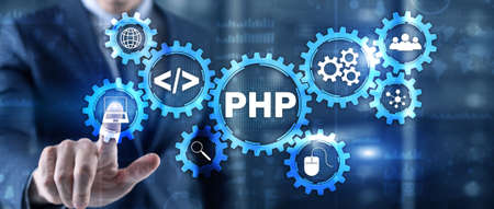PHP coding Concept. Programmer search. Technology Background