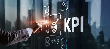 KPI Key Performance Indicator Business Internet Technology Concept on Virtual Screen 版權商用圖片