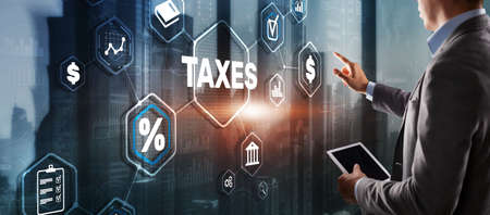 Concept of taxes paid by individuals and corporations such as VAT, income tax and property tax. Background for your business 版權商用圖片