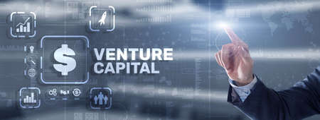 Venture capital. Investor capital. Businessman pressing virtual screen inscription