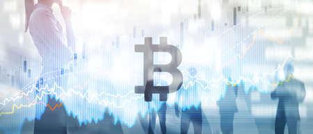 Bitcoin. Crypto currency market. Mixed media